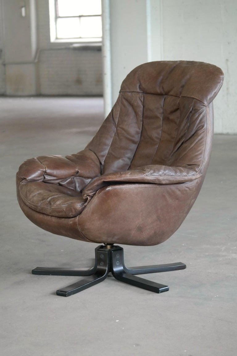 Danish Midcentury Brown Leather Egg Chair With Ottoman By