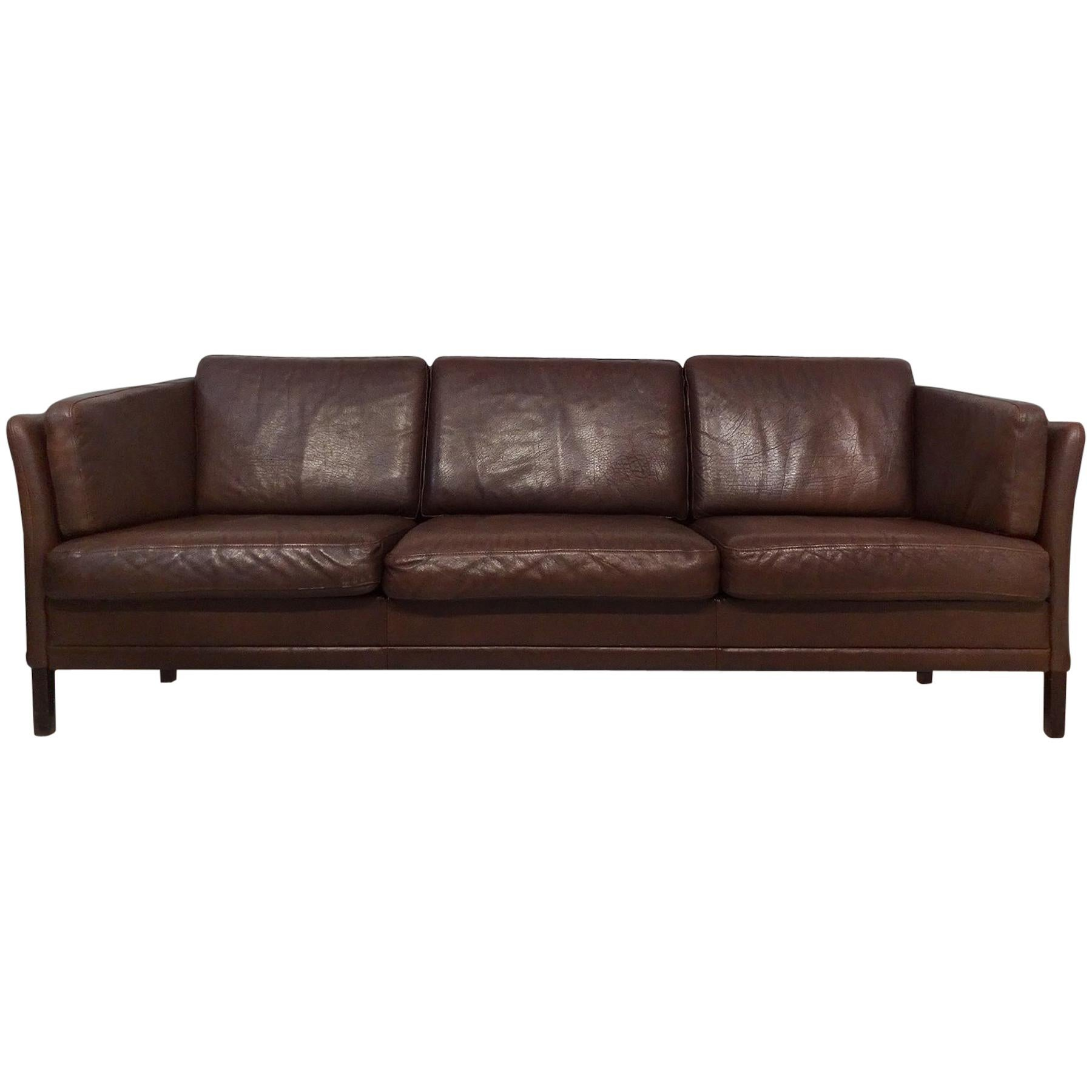 Danish Midcentury Brown Leather Sofa By Mogens Hansen At 1stdibs