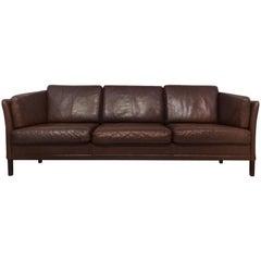 Danish Midcentury brown leather sofa by Mogens Hansen