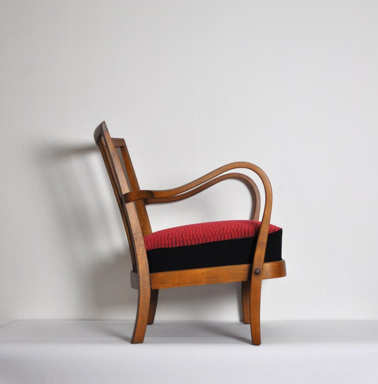 Stained Danish Midcentury Cabinetmaker Armchair Attributed to Fritz Hansen, 1940s For Sale