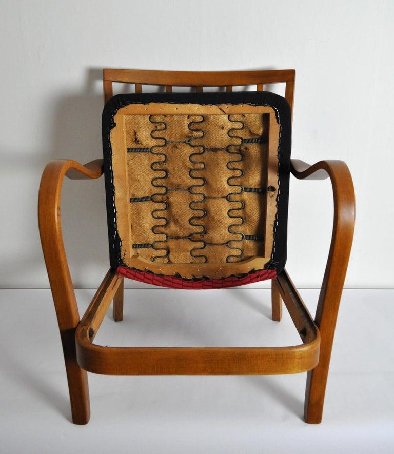 Danish Midcentury Cabinetmaker Armchair Attributed to Fritz Hansen, 1940s For Sale 2