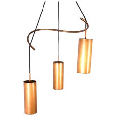 Danish Midcentury Copper Pendant Chandelier Light