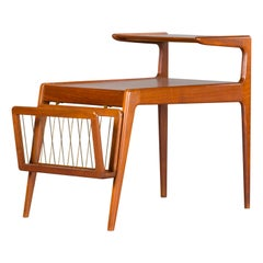 Danish Midcentury Design Teak Side Table by Kurt Ostervig with Magazine Rack