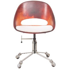 Danish Midcentury Desk Chair in Patinated Leather, 1960s