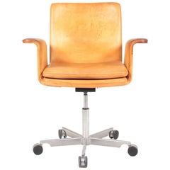 Danish Midcentury Desk Chair in Patinated Leather by Jørgen Rasmussen