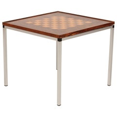 Danish Midcentury Double-Sided Wooden Chessboard Table with Aluminum Legs 1960s