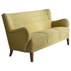 Danish Midcentury Flemming Lassen Style Three-Seat Sofa, 1940s