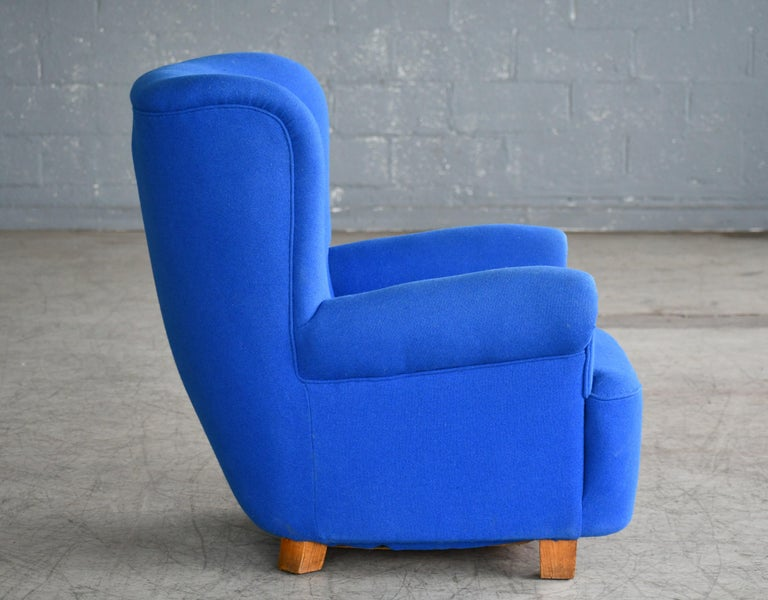 Mid-20th Century Danish Midcentury Fritz Hansen Style Large Scale Club or Lounge Chair, 1940s For Sale