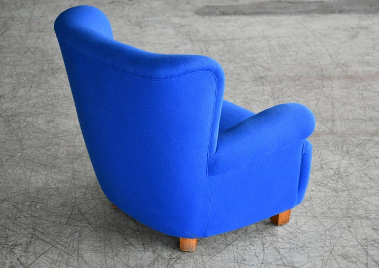 Wool Danish Midcentury Fritz Hansen Style Large Scale Club or Lounge Chair, 1940s For Sale