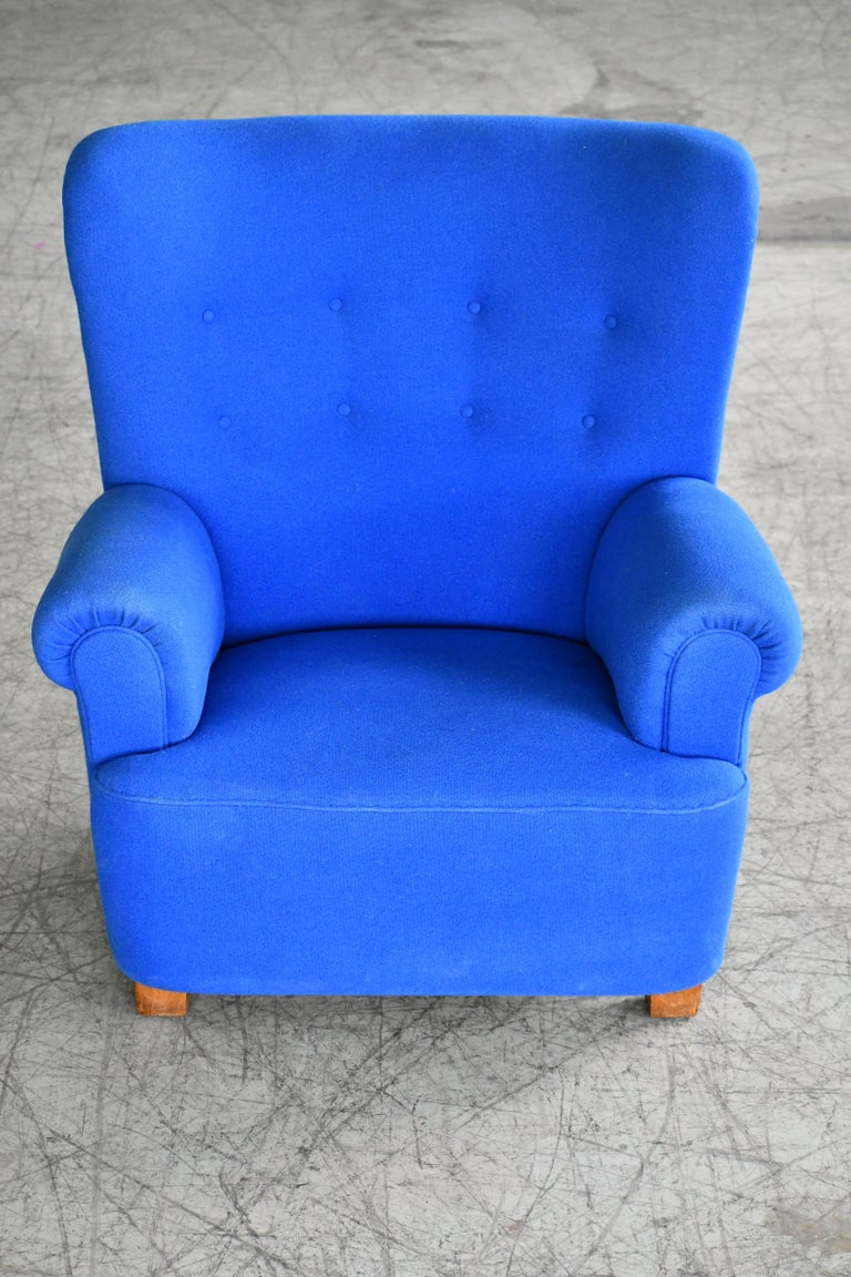 Danish Midcentury Fritz Hansen Style Large Scale Club or Lounge Chair, 1940s For Sale 1