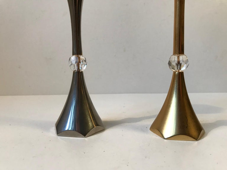 Mid-20th Century Danish Midcentury Gold-Plated Candlesticks by Hugo Asmussen, 1960s For Sale