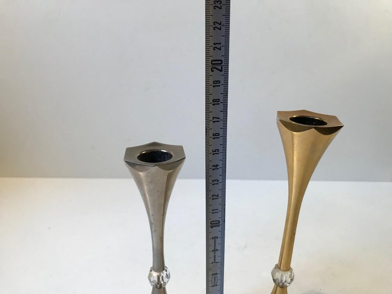 Gold Plate Danish Midcentury Gold-Plated Candlesticks by Hugo Asmussen, 1960s For Sale
