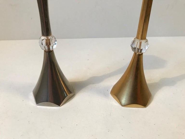 Danish Midcentury Gold-Plated Candlesticks by Hugo Asmussen, 1960s For Sale 1