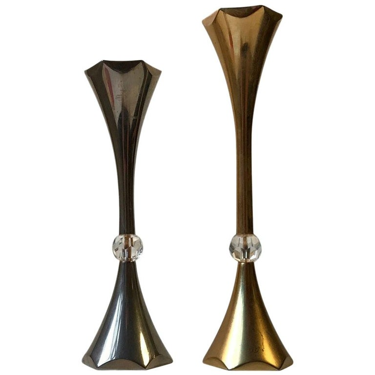 Danish Midcentury Gold-Plated Candlesticks by Hugo Asmussen, 1960s For Sale