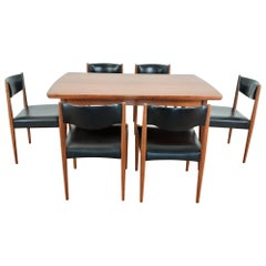 Danish Midcentury Golden Teak Extendable Dining Table and Six Chairs