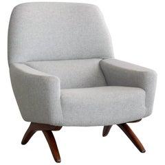 Danish Midcentury High Back Lounge Chair by Leif Hansen Style of Illum Wikkelsø