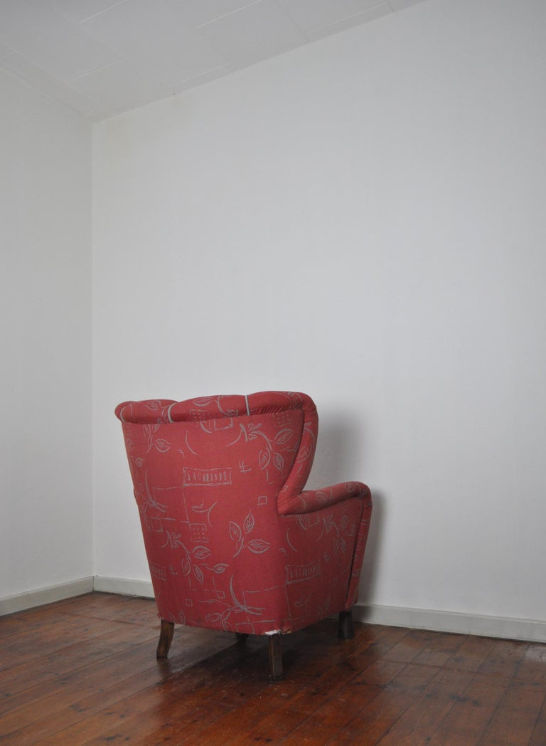 Danish Midcentury High Back Lounge or Club Chair, 1940s For Sale 3