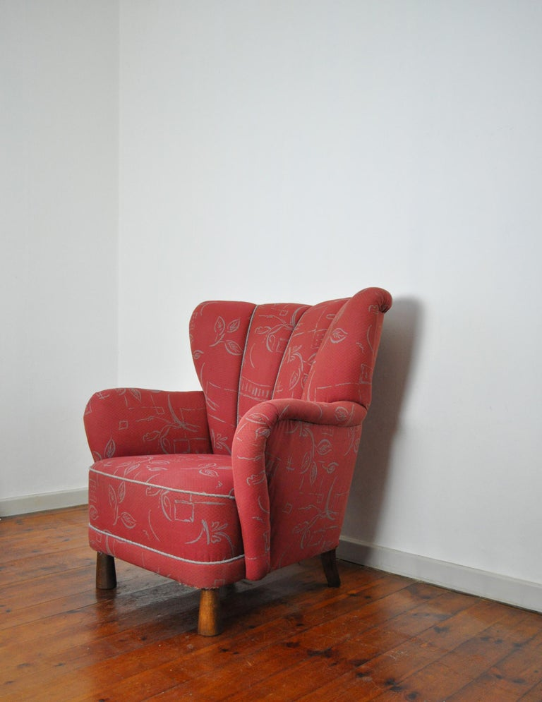 Danish Midcentury High Back Lounge or Club Chair, 1940s For Sale 4