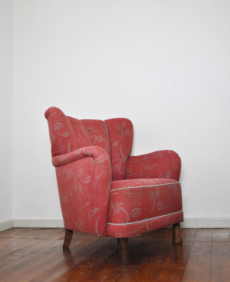 Stained Danish Midcentury High Back Lounge or Club Chair, 1940s For Sale