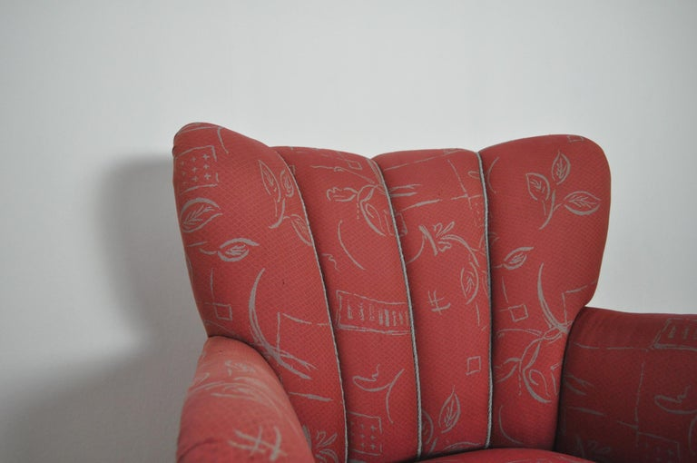 Fabric Danish Midcentury High Back Lounge or Club Chair, 1940s For Sale