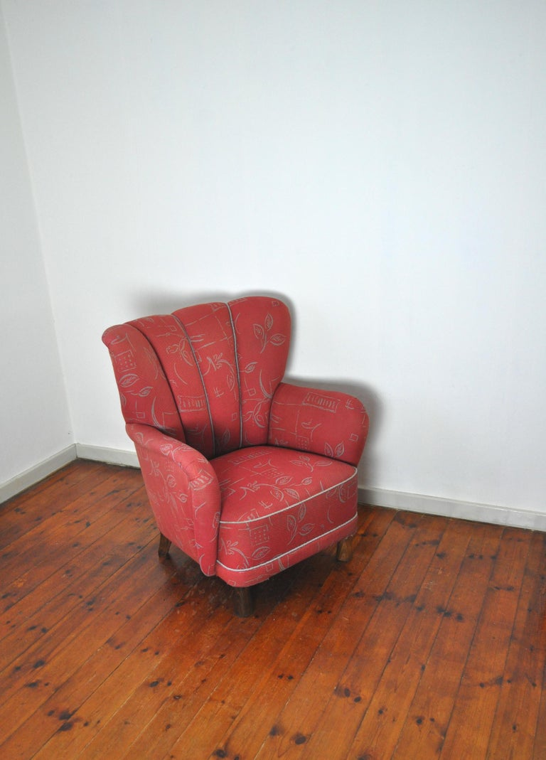 Danish Midcentury High Back Lounge or Club Chair, 1940s For Sale 1