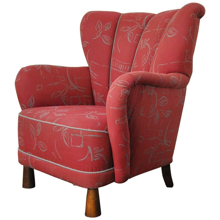 Danish Midcentury High Back Lounge or Club Chair, 1940s For Sale
