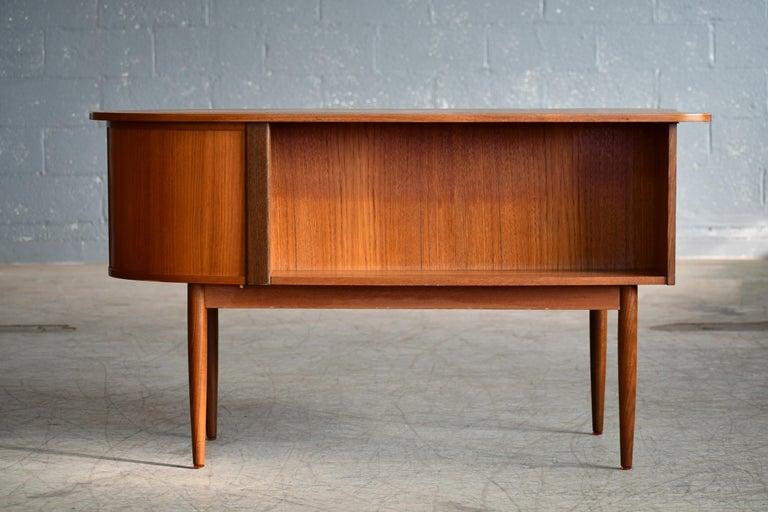 Danish Midcentury Kidney Shaped Kai Kristiansen Style Teak Writing Desk For Sale 5