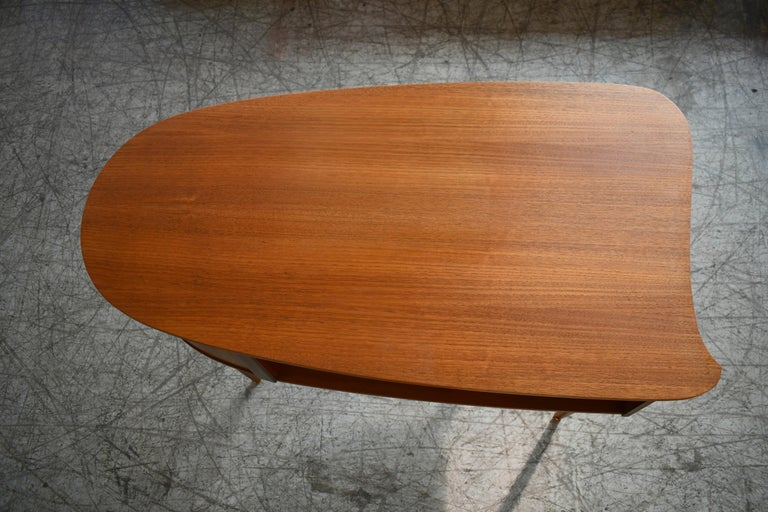 Danish Midcentury Kidney Shaped Kai Kristiansen Style Teak Writing Desk For Sale 3