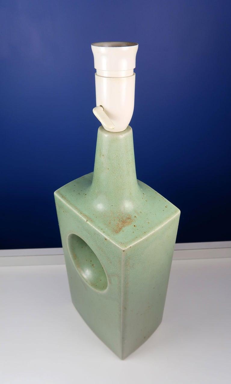 Danish Midcentury Knabstrup Keramik Sage Green Table Lamp, 1960s 3