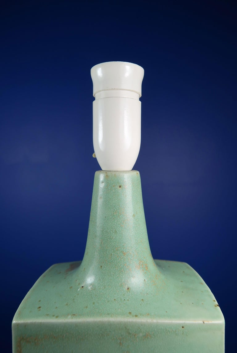 Danish Midcentury Knabstrup Keramik Sage Green Table Lamp, 1960s 4
