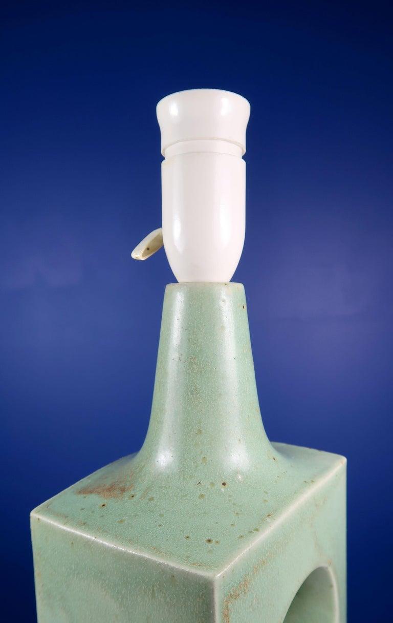 Danish Midcentury Knabstrup Keramik Sage Green Table Lamp, 1960s 5