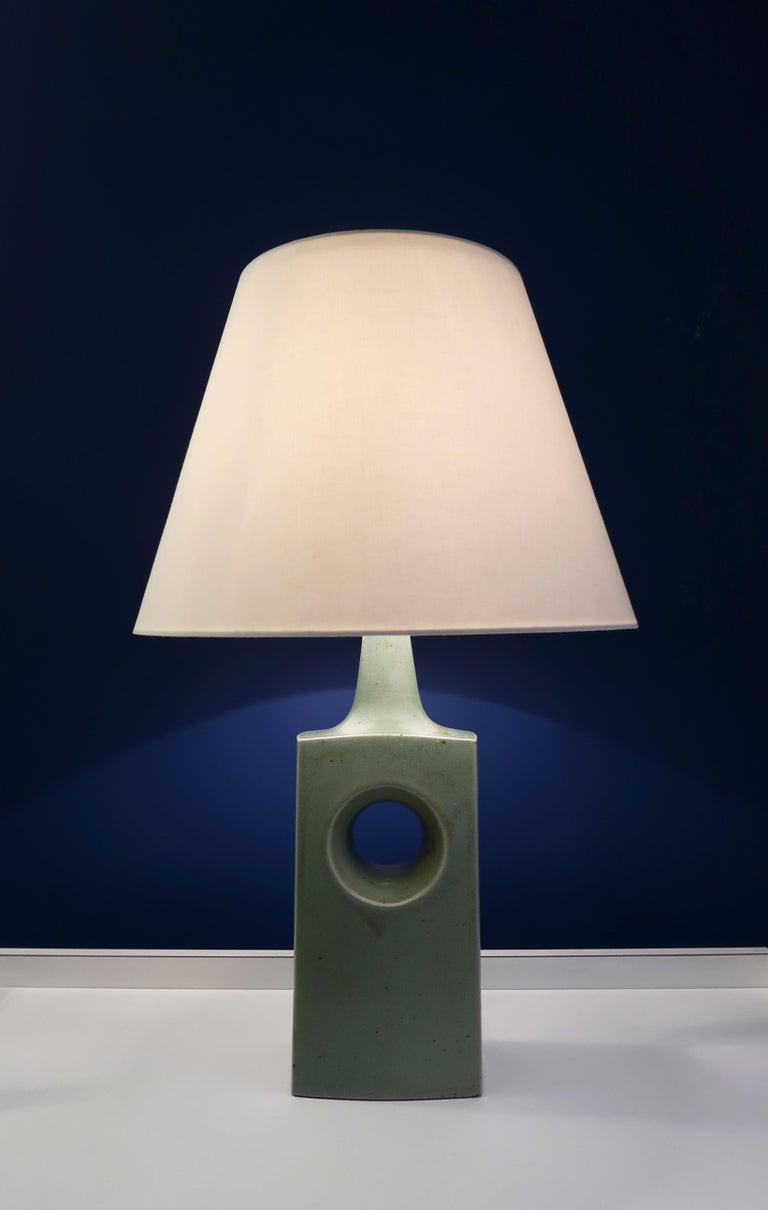 Mid-Century Modern Danish Midcentury Knabstrup Keramik Sage Green Table Lamp, 1960s