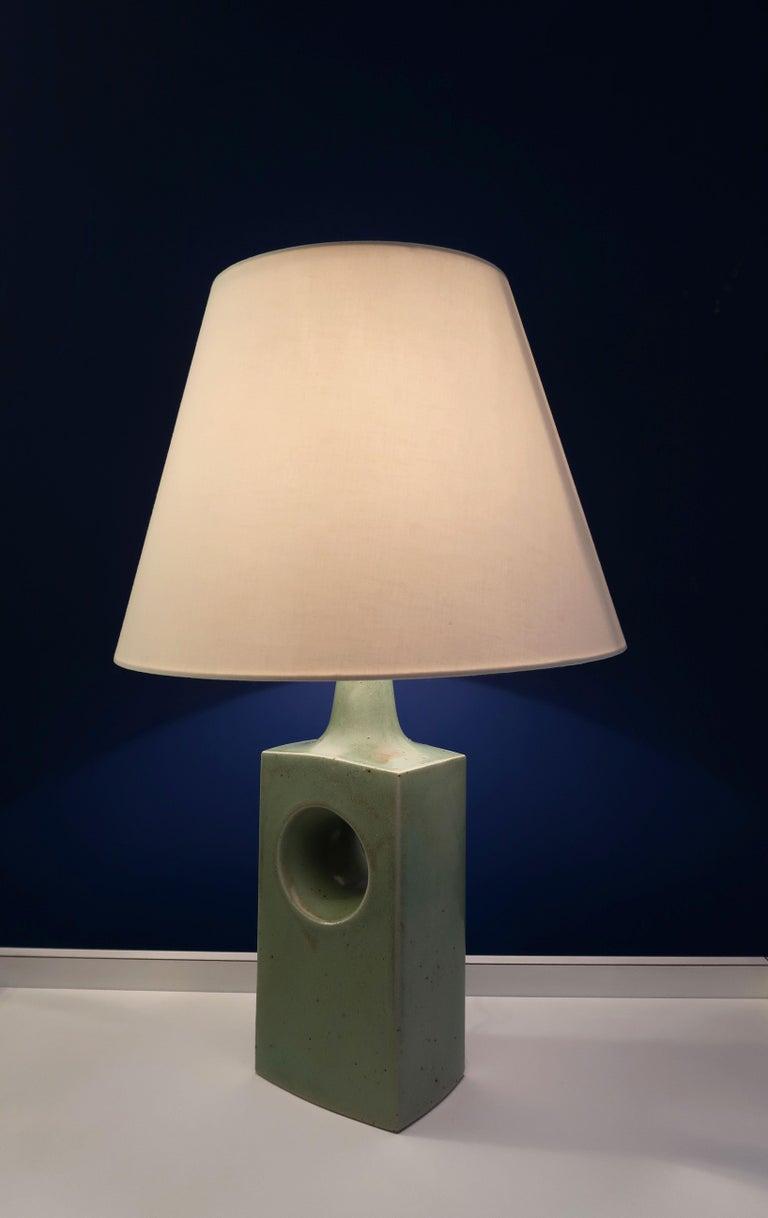 Glazed Danish Midcentury Knabstrup Keramik Sage Green Table Lamp, 1960s