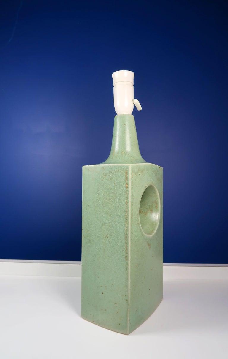 Danish Midcentury Knabstrup Keramik Sage Green Table Lamp, 1960s 1