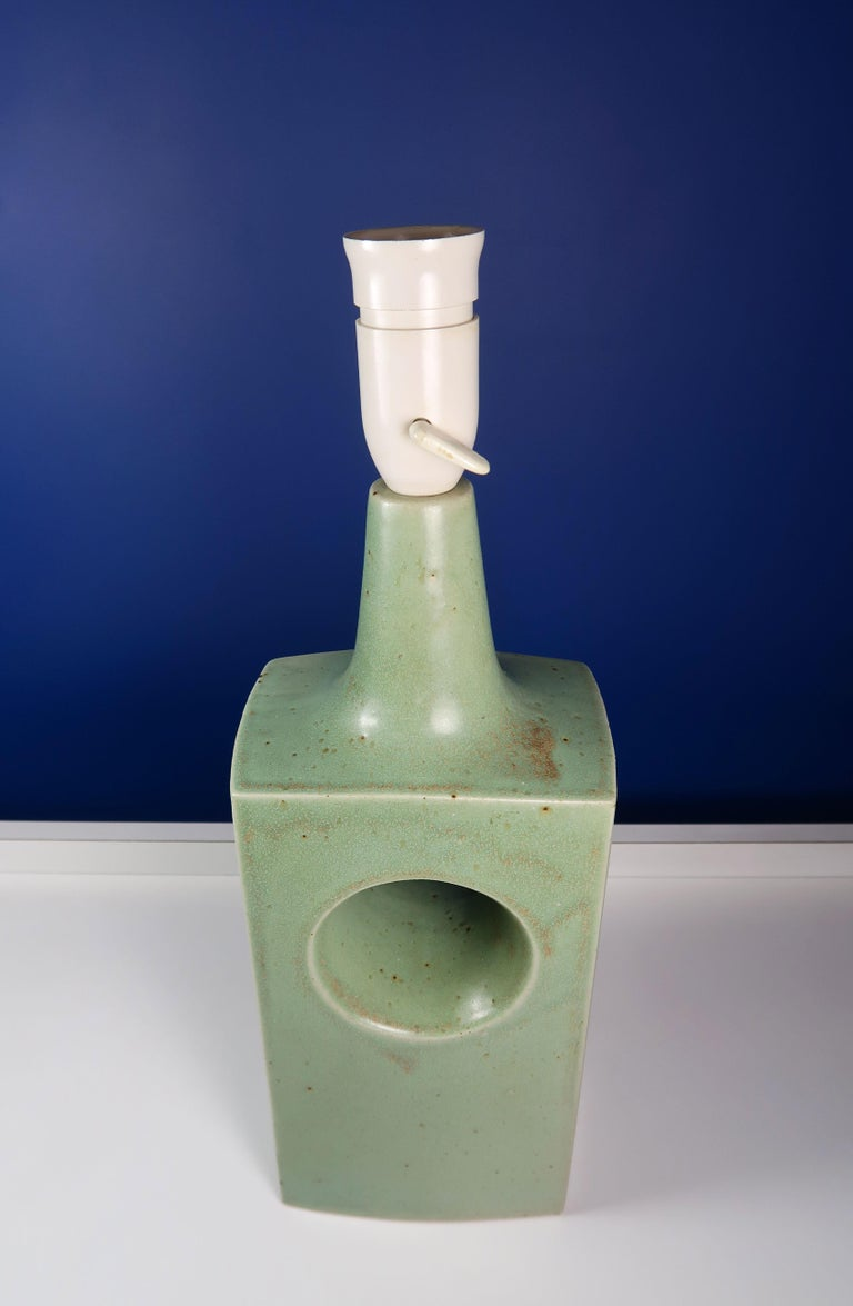 Danish Midcentury Knabstrup Keramik Sage Green Table Lamp, 1960s 2