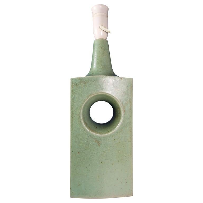 Danish Midcentury Knabstrup Keramik Sage Green Table Lamp, 1960s