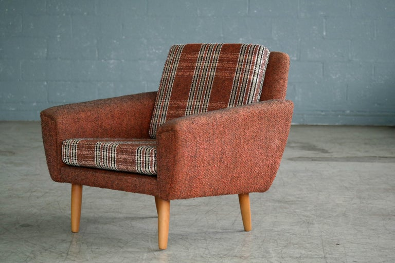 Danish Midcentury Kurt Ostervig Style Easy Lounge Chair in Original Wool, 1960s In Good Condition For Sale In Bridgeport, CT