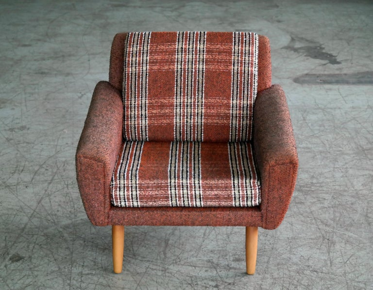 Mid-20th Century Danish Midcentury Kurt Ostervig Style Easy Lounge Chair in Original Wool, 1960s For Sale