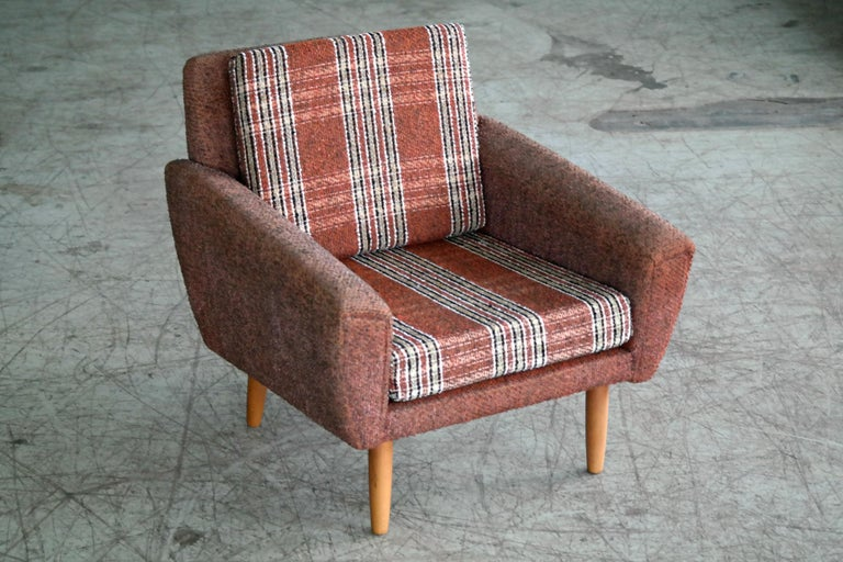 Danish Midcentury Kurt Ostervig Style Easy Lounge Chair in Original Wool, 1960s For Sale 1