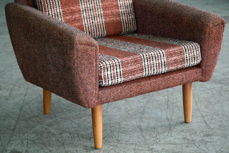 Danish Midcentury Kurt Ostervig Style Easy Lounge Chair in Original Wool, 1960s For Sale 2
