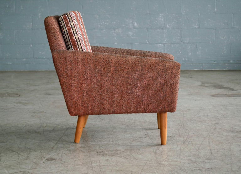 Danish Midcentury Kurt Ostervig Style Easy Lounge Chair in Original Wool, 1960s For Sale 3