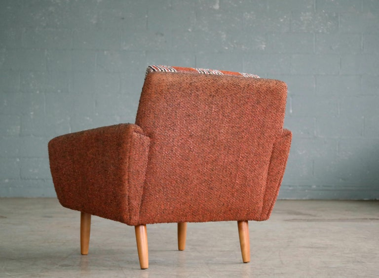 Danish Midcentury Kurt Ostervig Style Easy Lounge Chair in Original Wool, 1960s For Sale 4