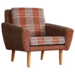 Danish Midcentury Kurt Ostervig Style Easy Lounge Chair in Original Wool, 1960s