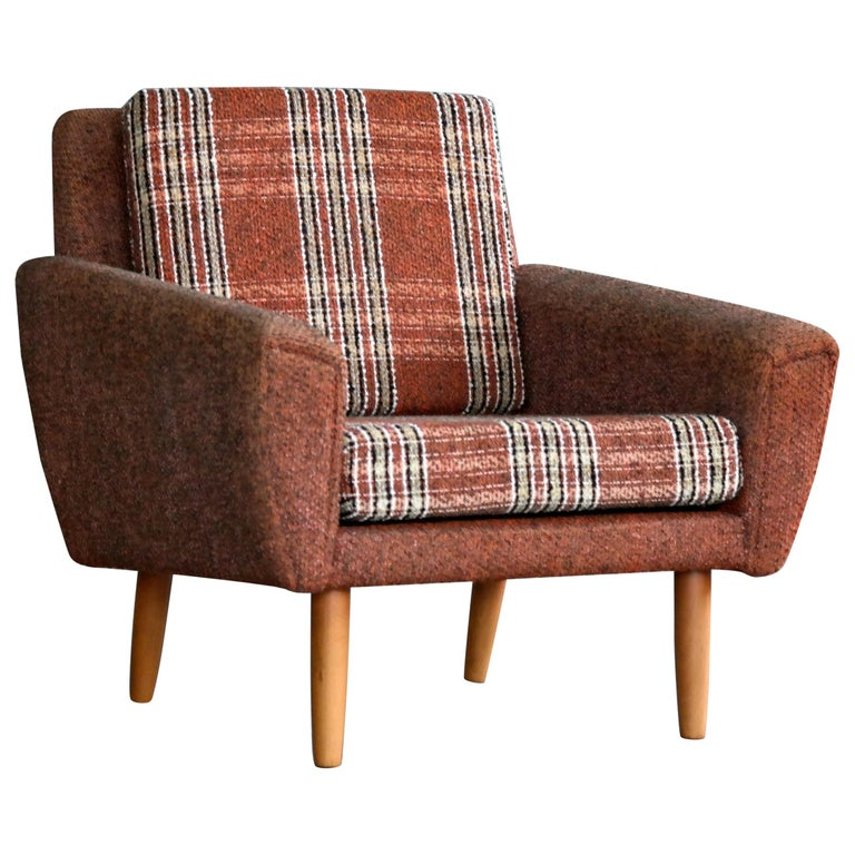 Danish Midcentury Kurt Ostervig Style Easy Lounge Chair in Original Wool, 1960s For Sale