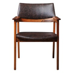 Danish Midcentury Leather Chair, Fully Reupholstered