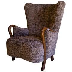 Danish Midcentury Lounge Chair in Grey Sheepskin, 1940s
