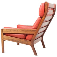 Danish Midcentury Lounge Chair in Leather and Rosewood by Erik Jørgensen, 1960s