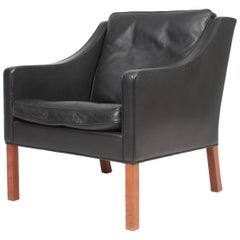 Danish Midcentury Lounge Chair in Patinated Leather by Børge Mogensen