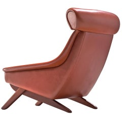 Danish Midcentury Lounge Chair in Terracotta Upholstery