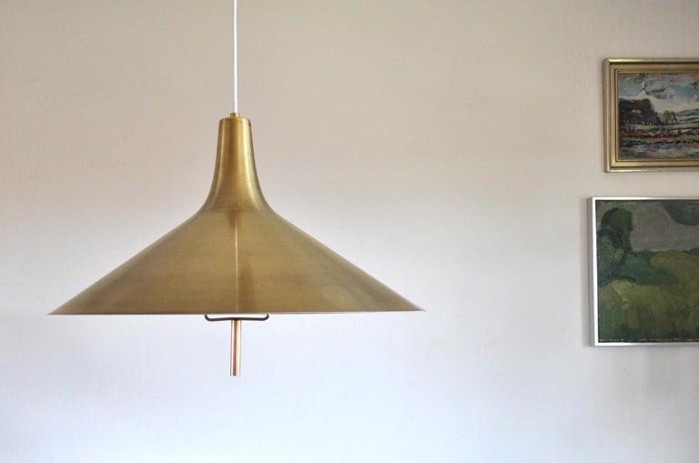 Scandinavian Modern Danish Mid-century Modern Chandelier in Brass 1950s in the Style of Paavo Tynell For Sale